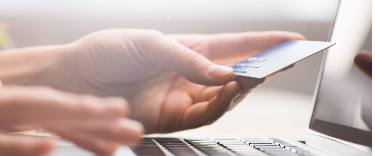 person holding credit card while using computer
