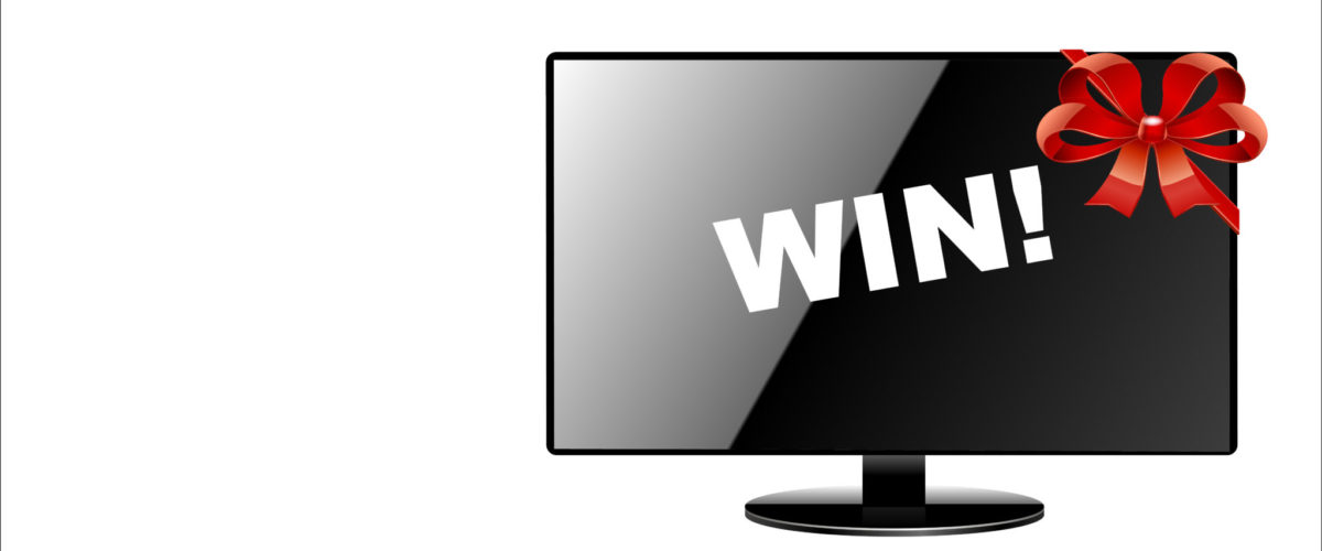 TV with bow on it and the word win